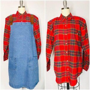 Vintage 90s NEW Oversized Flannel Womens Shirt S